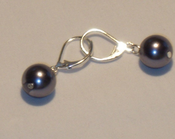 Dark grey or charcoal GLASS PEARL EARRINGS, dangle spring close silver color ear wire
