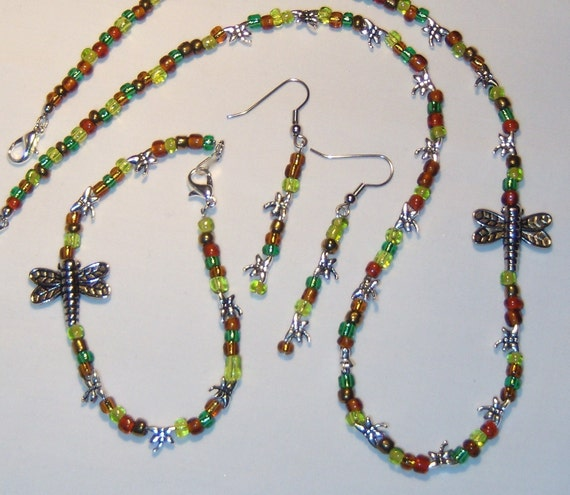 Dragonfly Jewelry Set, necklace, bracelet, dangle earrings, greens, browns, dragonflies, silver color, fun for fall colors