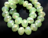 20 Green AB 8x10mm Rondell Faceted Glass Crystal (LO15)
