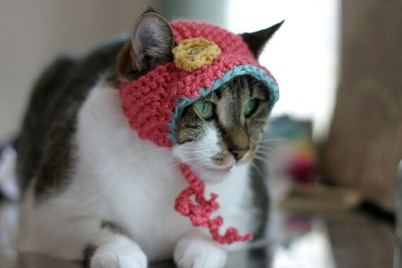 Coral Turquoise & Yellow Cat Hat with Brim and Crochet Flower