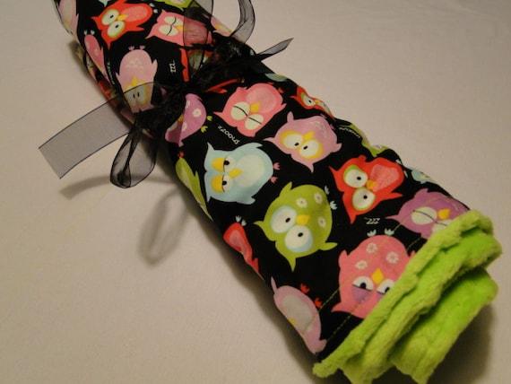 Owl Baby Blanket - Sleepy Owls Lime Minky