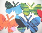 Vintage Paper BUTTERFLY Embellishments - Mega grab bag -100 large Butterfly cut-outs  from vintage paper