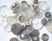 60 vintage / new buttons - Silver and Clear mix