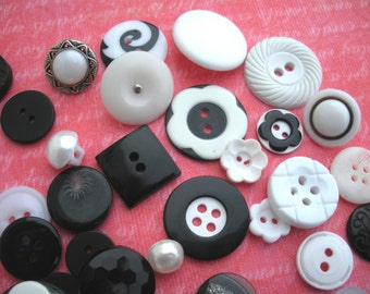 50 Buttons - black and white 'TUXEDO Mix'  - great variety including vintage and fancies eg flowers...