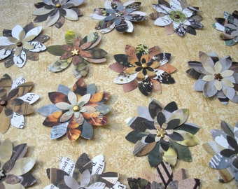 8 x Eco-friendly small paper flower embellishments - Earth tones