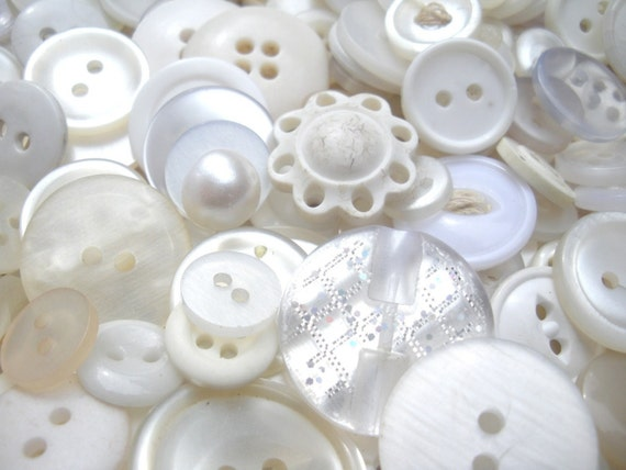 White-Washed Armoire button mix -   shabby vintage Buttons -  large bag of 100 grams