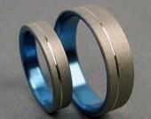 The Original Pinstripe Titanium Ring Wedding band set in Pale Gunmetal Blue