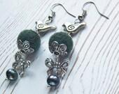 Birds dark green earrings