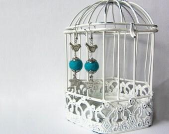 Birds azure earrings