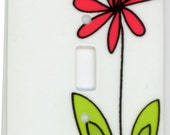 Daisy Flower Ceramic Single Switch Plate by Elizabeth Gonzalez