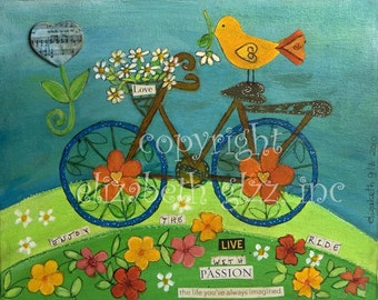 8x10 Bicycle Enjoy the Ride Giclee on Velvet Fine Art Paper