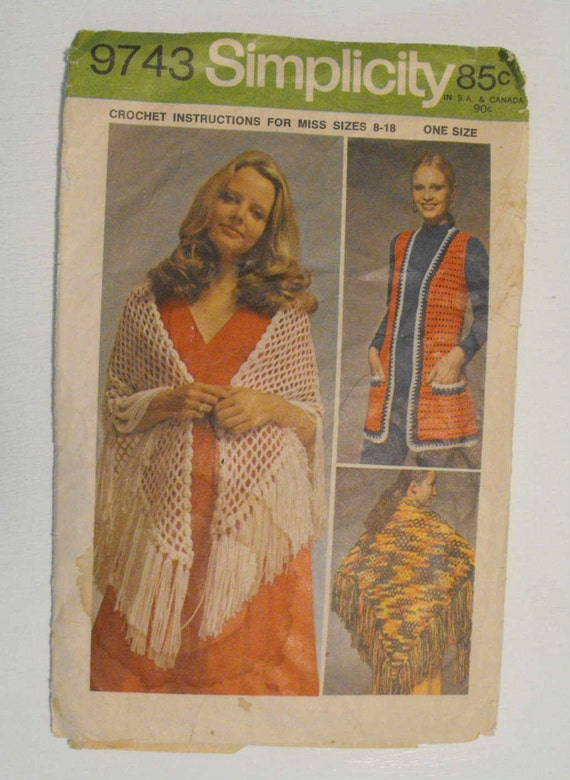 Simplicity 9743 Crochet Shawl and Vest Sizes 8, 10, 12, 14, 16, 18 Vintage