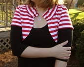 Repurposed Cotton Shrug with Collar - Peppermint Stripe, Extra Large