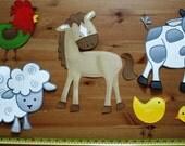 Fabric WALL DECALS Set of 6 Farm Animal Barnyard Children's Bedroom Playroom Baby Nursery Kids Wall Art Decals