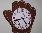 Baseball Glove and Ball Wooden WALL CLOCK for Boys Bedroom Baby Nursery