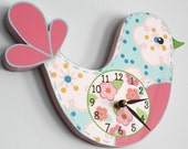 Love Bird Wooden WALL CLOCK for Girls Bedroom Baby Nursery WC0002