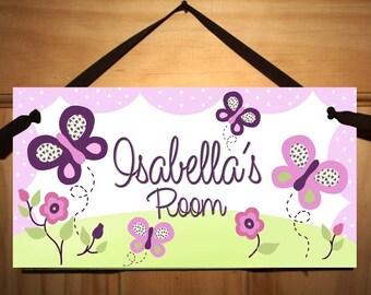 Girls Purple Butterfly Bedroom Door Sign Wall Art Made to Match Sugar Plum Bedding DS0041