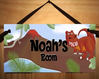 Boys Bedroom Dinosaur DOOR SIGN in Neutral Colours DS024