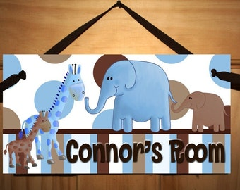 Blue and Brown Baby Nusery Boy Jungle Animal DOOR SIGN Wall Art DS0159