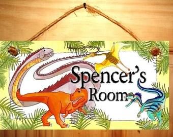 Prehistoric Dinosaur Kids Bedroom DOOR SIGN Wall Art DS0085