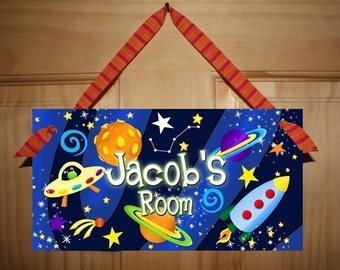 DOOR SIGN Blast Off Boys Bedroom Outerspace Rocket Ship Wall Art DS0015