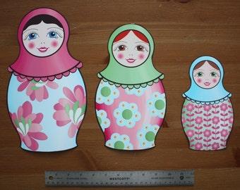 Fabric WALL DECALS Set of 3 Nesting Matryoshka Dolls Girl's Bedroom Playroom Baby Nursery Kids Wall Art Decals