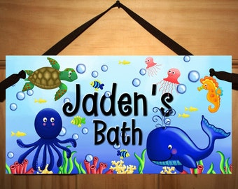 Ocean Creatures Kids Bathroom Childrens Bedroom Nursery DOOR SIGN Wall Art Plaque DS0098