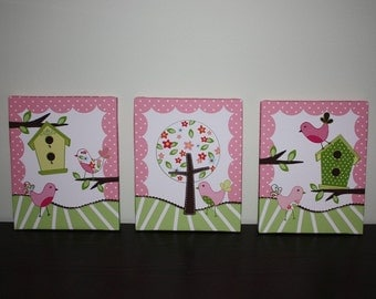 Set of 3 Sweet Tweat Lil Birdies on 8x10 Stretched Canvases Girls Bedroom CANVAS Bedroom Wall Art