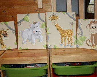 Set of 4 Jungle Animal Stretched Canvases Baby Nursery CANVAS Bedroom Wall Art 4CS037