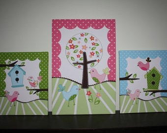 Set of 3 Extra Large Sweet Tweat Lil Biride 20x30 and 16x20 Stretched Canvases Baby Nursery CANVAS Bedroom Wall Art