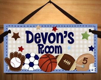 BLUE All Star Boys Sports - Football Soccer Baseball Bedroom DOOR SIGN Wall Art Ds0004