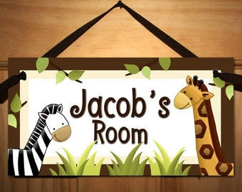 In the Jungle Baby Nursery Kids Bedroom DOOR SIGN Wall Art DS0326