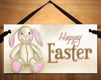 Rag Bunny Easter Door Sign Wall Art Home Decor DS0351
