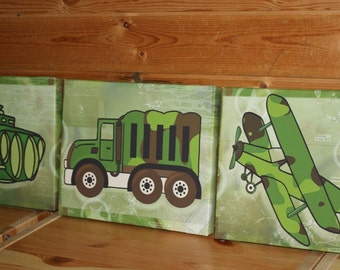 Set of 3 Camo Army Military Boys Stretched Canvases Girls Bedroom CANVAS Bedroom Wall Art 3CS052