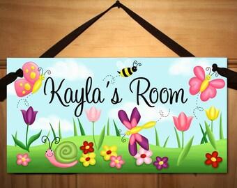 Tulip Butterfly Garden Girls Bedroom Baby Nursery DOOR SIGN Wall Art DS0071