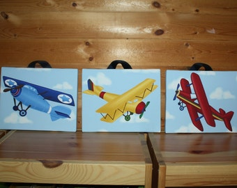 Set of 3 Up Up and Away Little Airplane Baby Boy Nursery Art on Stretched Canvas 3CS050