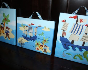 Set of 3 Pirates and Sea Monster Boys Bedroom 8x10 Art on Stretched Canvas