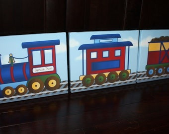 Set of 3 Express Train Boys Bedroom Baby Boy Nursery Art on Stretched CANVAS 3CS047