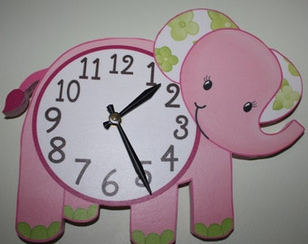 Pink Elephant Jungle Animals Wooden WALL CLOCK for Girls Bedroom Baby Nursery WC0071