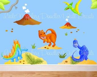 Fabric WALL DECALS Dinotastic Dinosaur Mural Set Boy's Bedroom Playroom Baby Nursery Kids Wall Art Decals
