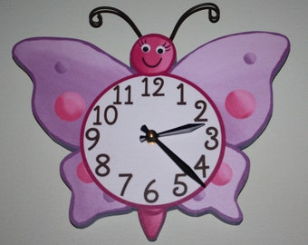 Lilac Butterfly Wooden WALL CLOCK Girls Bedroom Baby Nursery Art Decor WC0026