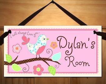 Love Birds Girls Bedroom and Baby Nursery Kids Bedroom DOOR SIGN Wall Art DS0090