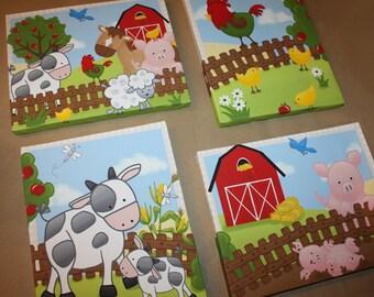 Set of 4 Farm Animal Kids Bedroom Stretched Canvases Kids Playroom Baby Nursery CANVAS Bedroom Wall Art 4CS016