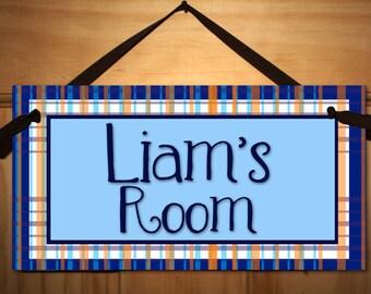 Simple Ol' Boy, Plaid Boys Bedroom Baby Nursery DOOR SIGN Wall Art DS0020