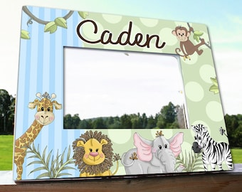 Jungle Animals Personalized Photo PICTURE FRAME for Kids Bedroom Baby Nursery PF0067