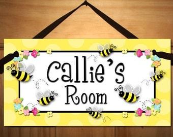 DOOR SIGN Pretty Little Bumblebee Girls Bedroom Wall Art DS0158