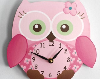 Sweet Little Owl Wooden WALL CLOCK for Girls Bedroom Baby Nursery WC0010