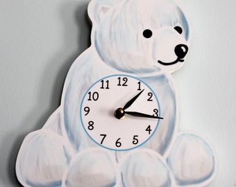 Polar Bear Wooden WALL CLOCK for Kids Bedroom Baby Nursery WC0078