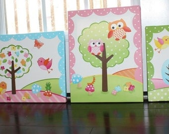 Set of 4 Owls Love Birdies CANVASES Girls Nature Forest Bedroom 11x14 Kids Stretched  Canvas Wall Art