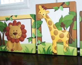 Set of 5 Jungle Animals - Giraffe Elephant Tiger Lion Monkey Stretched Canvases Kids Bedroom Baby Nursery CANVAS Bedroom Wall Art